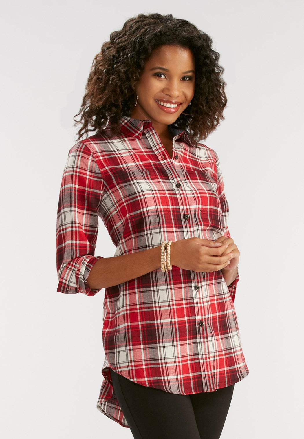 Plaid flannel shirt plus shirts blouses cato fashions for Plus size plaid flannel shirt
