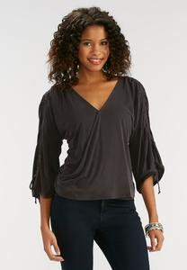 Silk Wash Ruched Sleeve Top
