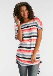 Striped Tie Side Tunic