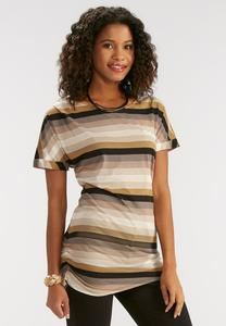 Striped Tie Side Tunic-Plus