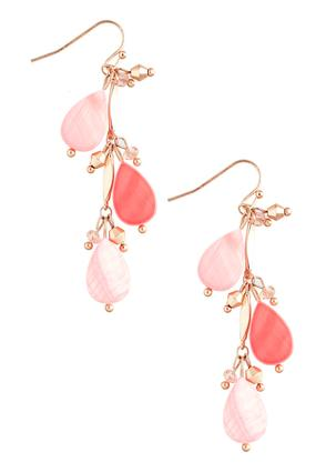 Beaded Shell Dangle Earrings
