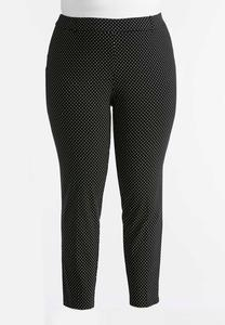 Polka Dot Slim Leg Pants-Plus