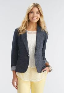 Crosshatch Knit Blazer-Plus