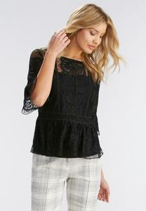 Lace Peplum Top-Plus