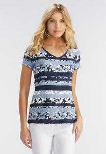Floral Splice Striped Tee-Plus