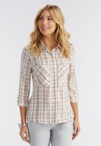 Plaid High-Low Shirt-Plus