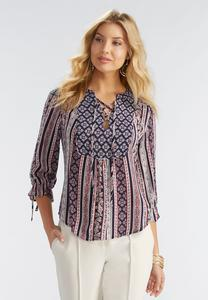 Mixed Print Lace Up Poet Top-Plus