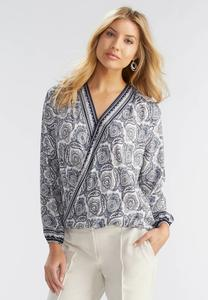 Bordered Paisley Foldover High-Low Top-Plus