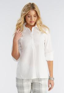 Cotton Split Back Popover Top-Plus