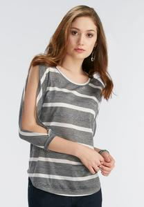 Metallic Stripe Slit Sleeve Top