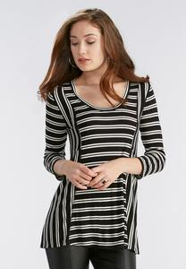 Striped Seamed Knit Top-Plus
