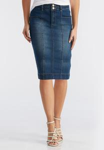 Seamed Denim Pencil Skirt-Plus
