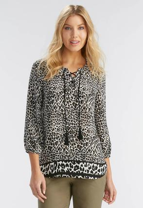 Bordered Animal Print Poet Top