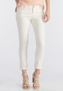 Cream Skinny Ankle Jeans
