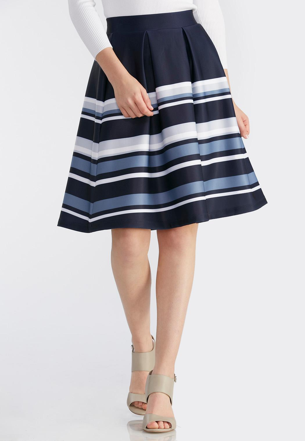 pleated striped midi skirt plus below the knee cato fashions