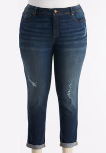 Distressed Skinny Ankle Jeans-Plus EXT
