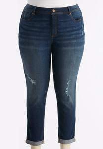 Distressed Skinny Ankle Jeans-Plus