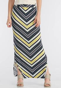Mitered Stripe Maxi Skirt-Plus