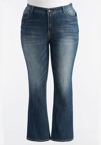 Curvy Heavy Stitched Bootcut Jeans-Plus