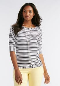 Striped Boat Neck Ribbed Top-Plus