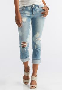 Bleach Distressed Girlfriend Denim Crops
