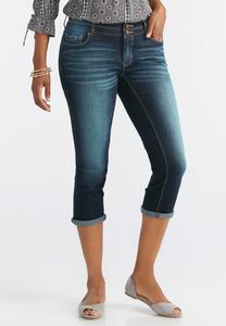 Double Button Cuffed Crop Jeans