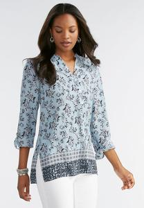 Bordered Lacy Scroll Henley Top-Plus