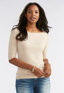 Boat Neck Ribbed Top-Plus