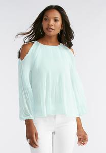 Stretch Pleat Cold Shoulder Top