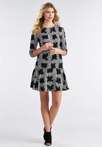 Checkered Vine Flounced Hem Dress
