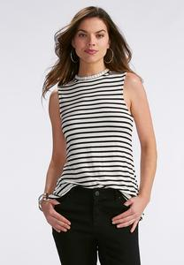 Striped Ruffle Mock Neck Tank-Plus