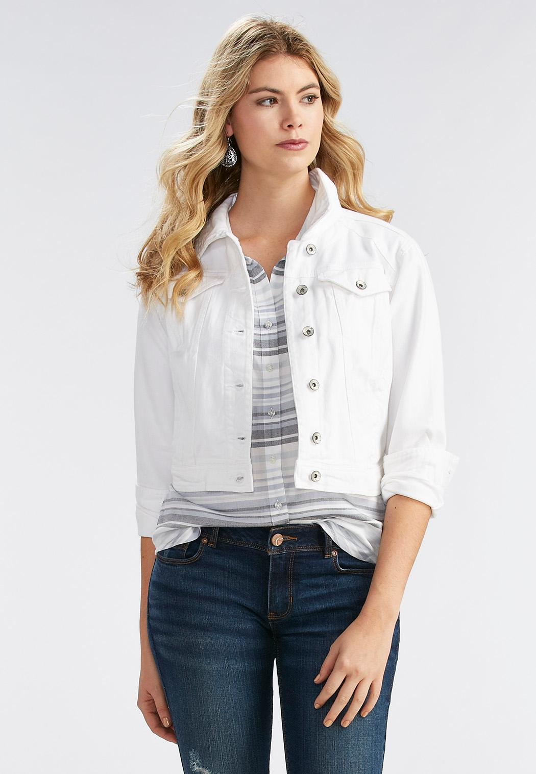 White Denim Jacket Jackets Cato Fashions