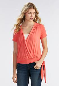 Surplice Tie Hem Top-Plus