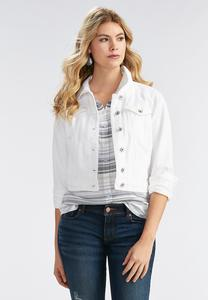 White Denim Jacket-Plus