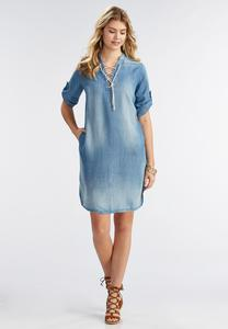 Lace Up Neck Chambray Shirt Dress-Plus