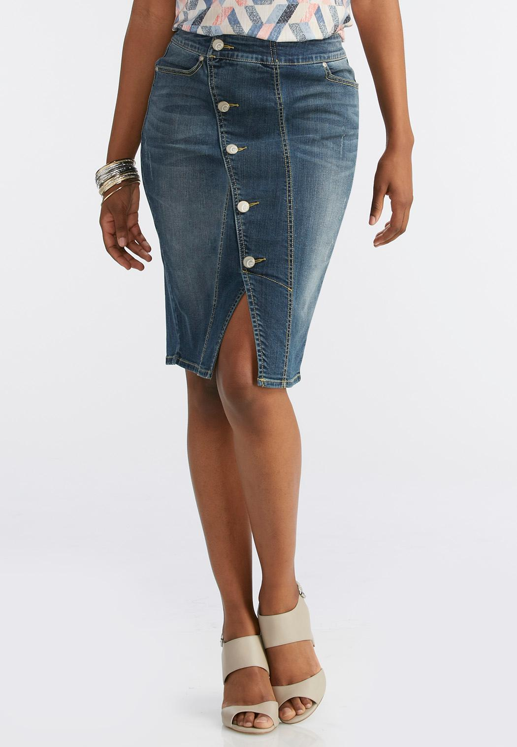 Asymmetrical Button Front Denim Skirt Skirts | Cato Fashions