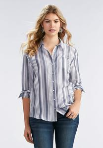 Boyfriend Striped Button Down Shirt