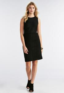 Textured Stretch Knit Sheath Dress-Plus