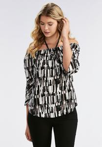Abstract Geometric Off the Shoulder Top