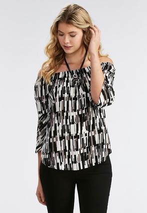 Abstract Geometric Off The Shoulder Top- Plus