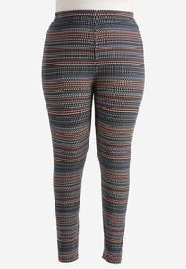 Abstract Print Leggings-Plus