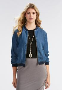 Chambray Bomber Jacket-Plus