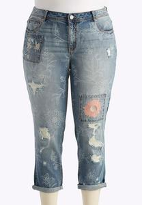 Floral Embellished Girlfriend Jeans-Plus