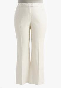 Scroll Jacquard Linen Trousers-Plus