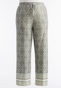 Bordered Medallion Palazzo Pants- Plus