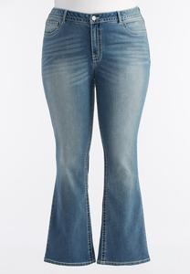 Light Wash Bootcut Jeans-Plus Petite