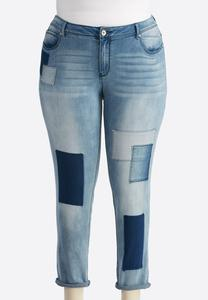 Patchwork Ankle Girlfriend Jeans-Plus