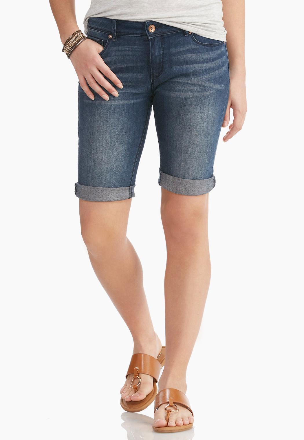 Cuffed Bermuda Jean Shorts Shorts & Crops Cato Fashions
