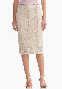Ladder Trim Lace Midi Skirt
