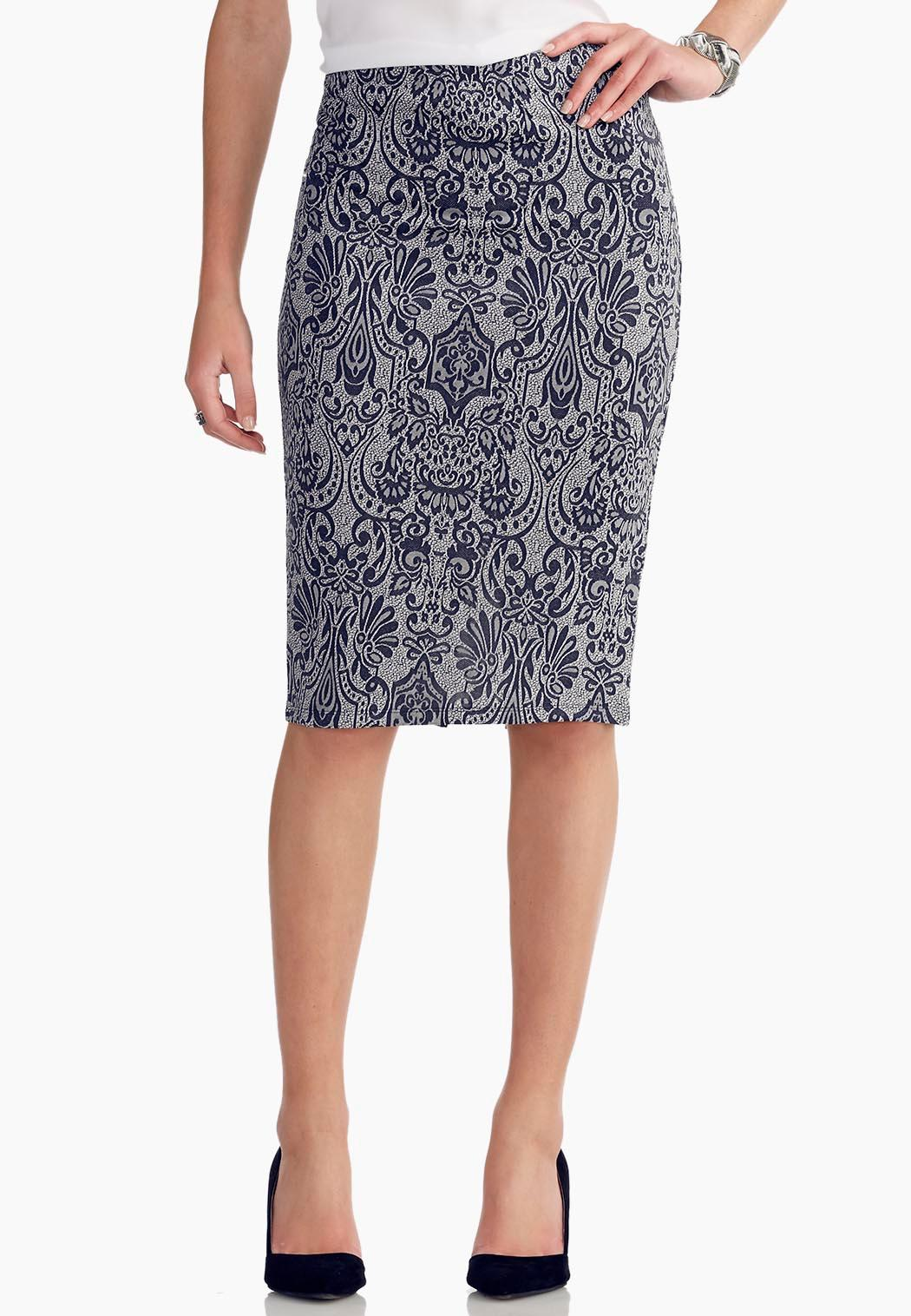 graphic scroll midi skirt below the knee cato fashions